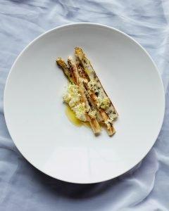 Silo London | White Asparagus, Fresh Goats Curd and Elderflower Oil