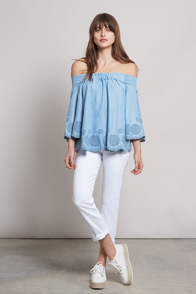Ethical women's clothing | Komodo off-the-shoulder blue top