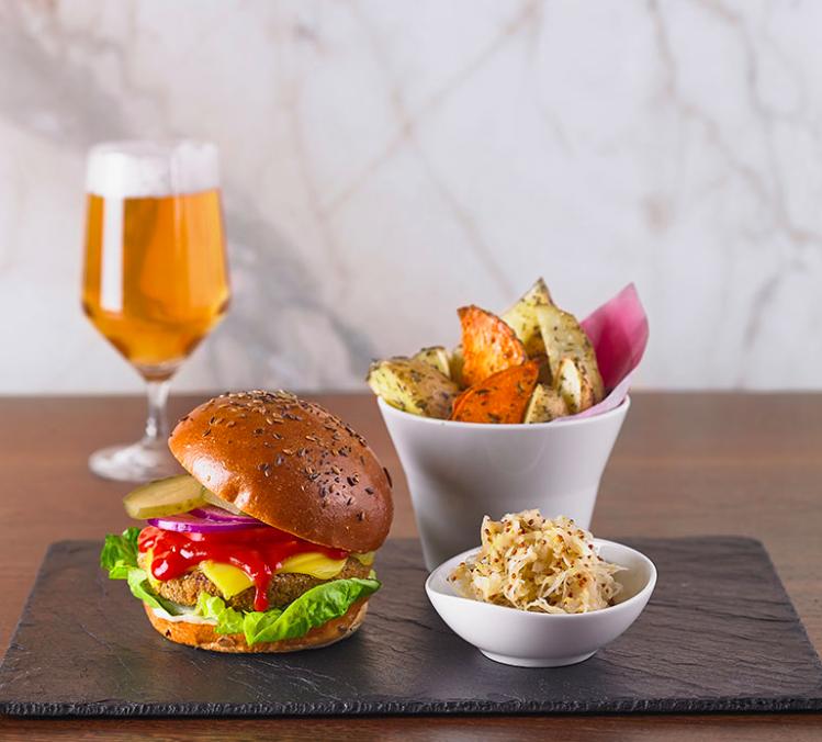 Best vegan restaurants London   Vegan burger and chips at Wulf & Lamb