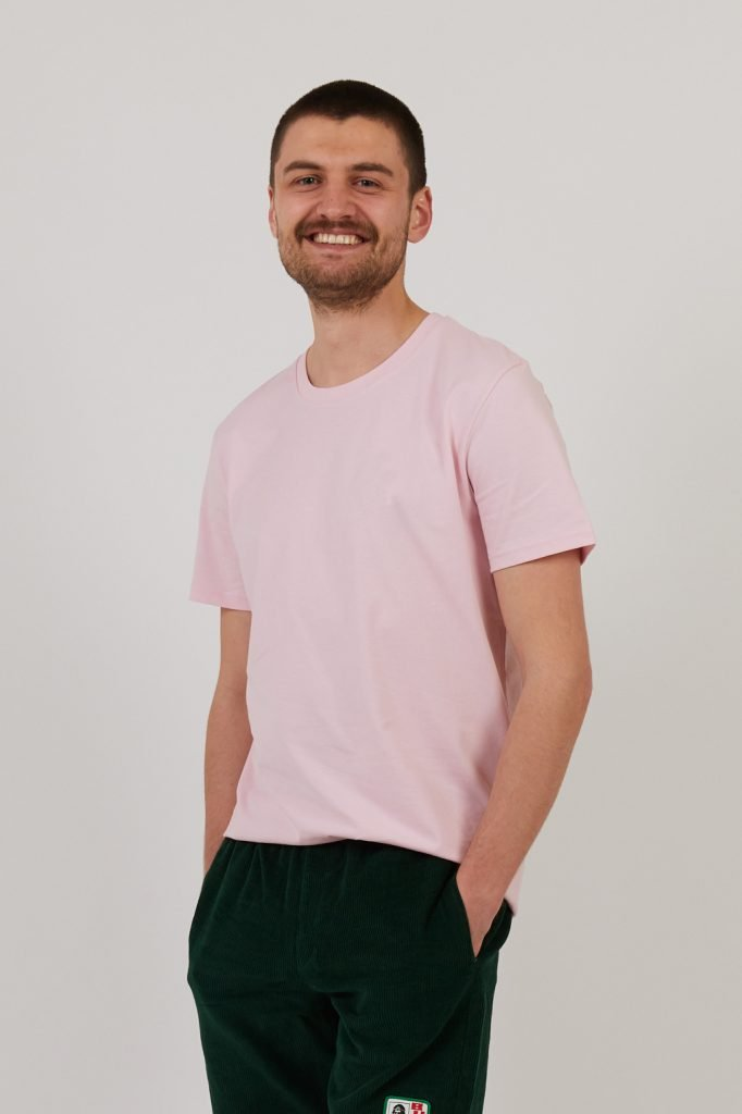 Ethical men's t shirts | Goose Studios pink t shirt