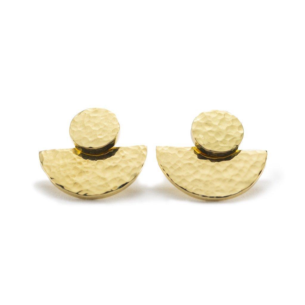 Yala Jewellery Lela Hammered 3 Way Earrings Ethical Brass Modern African 14k Gold Fill 5