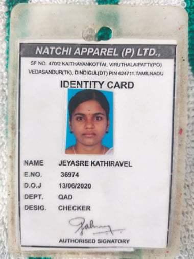 Jeyasre Kathiravel's Identity Card