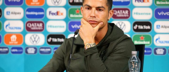 Ronaldo Press conference Euro 2020   Water not Coca-Cola